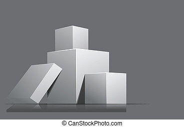 Cubes - Bright gray background with pile of cubes