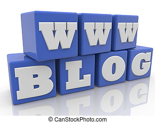 Cubes in blue with blog concept