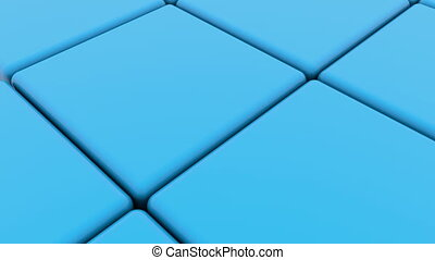 Cubes in blue with one red between