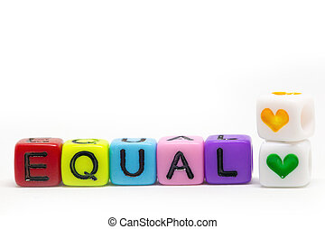Cubes in rainbow colors with the word Equal isolated on white background, colorful colors lgbt or gender concept,