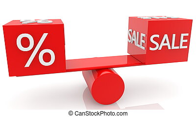 Cubes in red with Percent and Sale concept on swing
