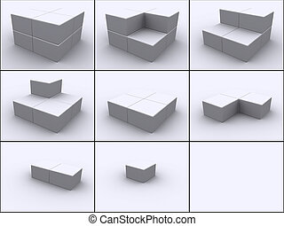 Cubes in steps - 3d rendered image of 8 boxes put together...