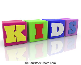 Cubes in various colors with kids concept