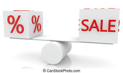 Cubes in white with Percent and Sale concept on swing