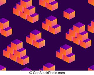 Cubes isometric seamless pattern with gradient on a dark purple background. Vector illustration