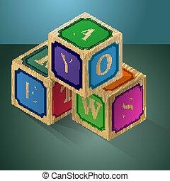 cubes, letters., jeu, vecteur, logique, child.