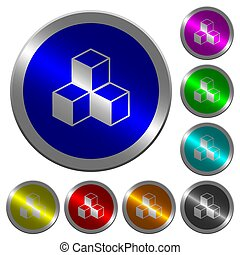 Cubes luminous coin-like round color buttons