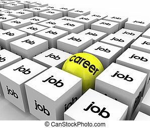 cubes, métier, sphère, croissance, occasion, carrière, développement, travail, vs