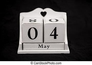 cubes, mai, 4, 4ème, calendrier, quatrième