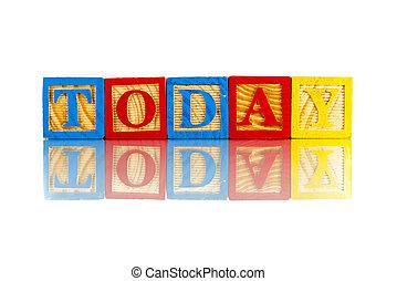 cubes, mot, aujourd'hui, coloré