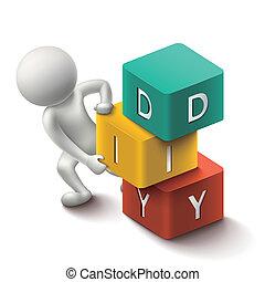 cubes, mot, bricolage, humain, 3d
