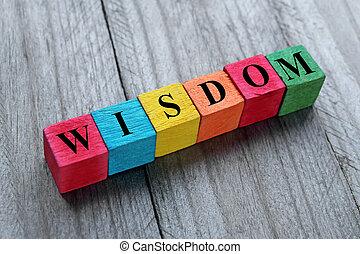 cubes, mot, coloré, bois, sagesse, concept