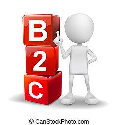 cubes, mot, illustration, personne, b2c, 3d