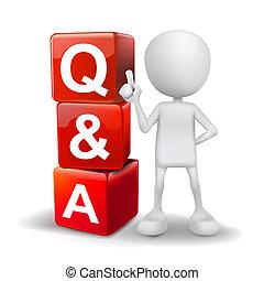 cubes, mot, illustration, personne, q&a, 3d