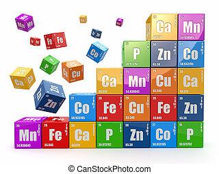 cubes, mur, concept., 3d, table périodique, wiyh, element., chimie