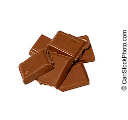 Cubes of chocolate on white background