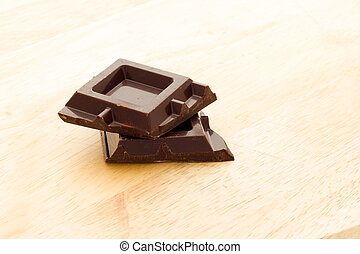 Cubes of dark chocolate