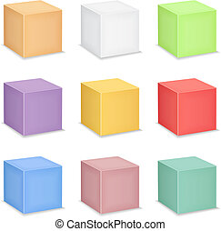 Cubes on white background, 9 colors, vector eps10 illustration