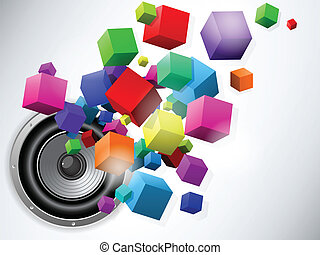 cubes, orateur, écoulement