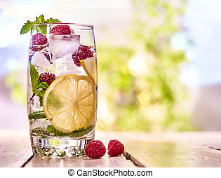 cubes, outdoor., glace, mojito, verre., framboise