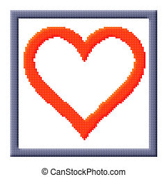 Cubes pixel image of heart in gray frame