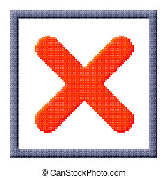 cubes pixel image of red cross mark in gray frame