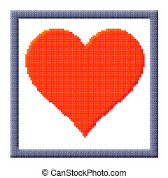 Cubes pixel image of red heart in gray frame