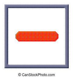 Cubes pixel image of red minus sign in gray frame