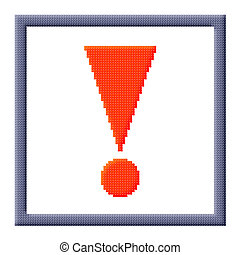Cubes pixel image of red triangular exclamation mark