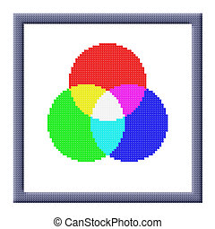 Cubes pixel image of RGB color settings icon