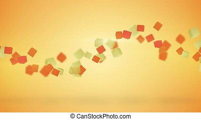 cubes, résumé, loopable, fond, orange, 3d