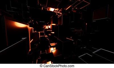 cubes, résumé, sombre, clair, eclats, rouges