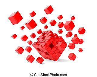 cubes, rouges