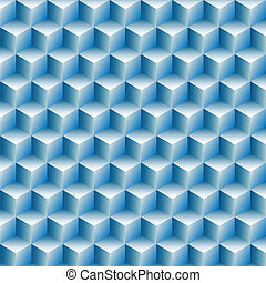 Cubes boxes rows in a blue optical illusion background abstract.