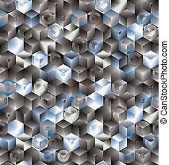 Cubes seamless pattern, vector background.