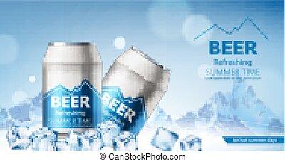 cubes., sommerso, days., lattine, rinfrescante, montagne, birra, due, nevoso, estate, realistico, ghiaccio, caldo, fondo.