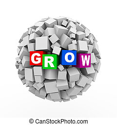 cubes, -, sphère, boîtes, balle, grandir, 3d