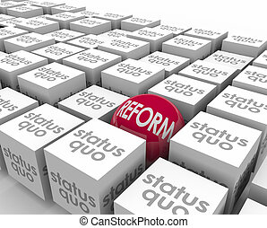 cubes, statut, sphère, reform, quo, opposé, vieux, même, changement, nouveau, vs