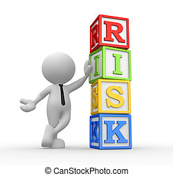 """Cubes - 3d people - man, person with cubes and word """"risk"""""""