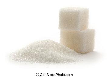 cubes sucre, blanc, fond