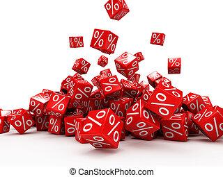 cubes tombants, cent, rouges