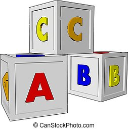 Cubes toys, illustration, vector on white background.