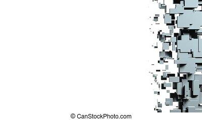 cubes, transformer, arrière-plan., animation, mur, 3d