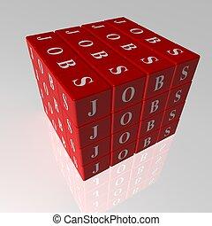 cubes, travaux, rouges