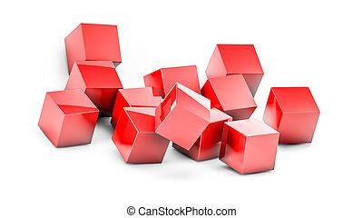 cubes, tridimensionnel, rendre, white., rouges, 3d