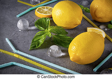 cubes, tubes, tranches citron, glace, basilic, citrons, bleu, cocktail, gris, jaune