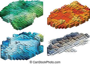 cubes, vecteur, fond, 3d
