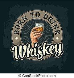 cubes, verre, glace, main, whisky, tenue, mâle