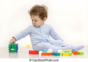 cubes, vieux, année, une, jouet, enfant, adorable, jouer