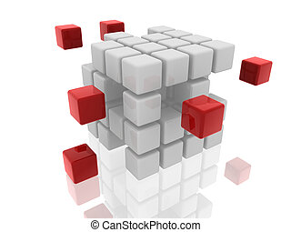 cubes white and red